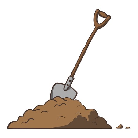 Shovel in dirt  Vector cartoon freehand illustration  Çizim