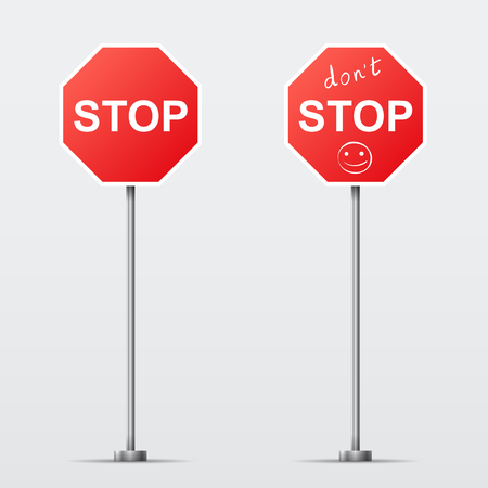 dont sign: Stop and Dont Stop road sign isolated  Vector illustration Illustration