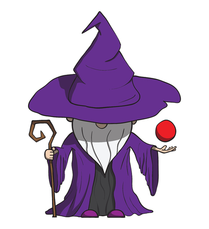 diviner: Simple cartoon wizard with staff  Isolated on white  Vector illustration Illustration