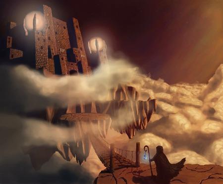 fantasy landscape: Dark castle in clouds  Fairytale  Fantasy landscape  Vector illustration