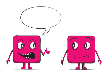 Funny cube dudes talking  Square characters  Vector illustration Vector