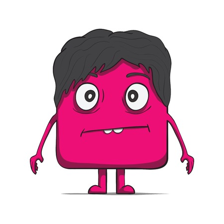 dude: Funny cube dude with hair  Square character  Vector illustration