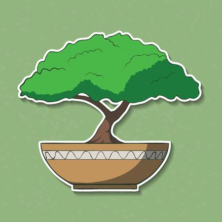 bonsai tree: Vector Illustration of colorful paper bonsai tree
