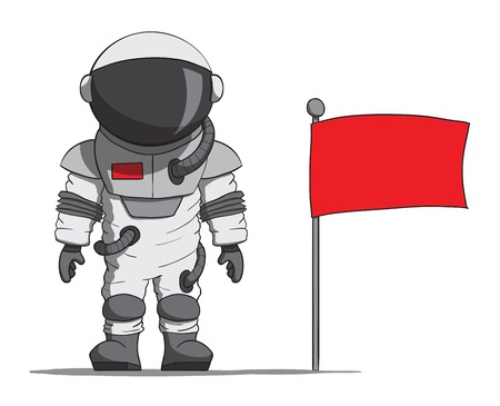 spacesuit: Cartoon astronaut with a flag  Vector illustration Illustration