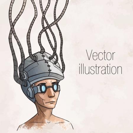 Man wearing a brain-control helmet  Digital addiction  Vector illustration Illustration