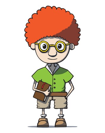 Funny cartoon redhead nerd genius in glasses with book Vector