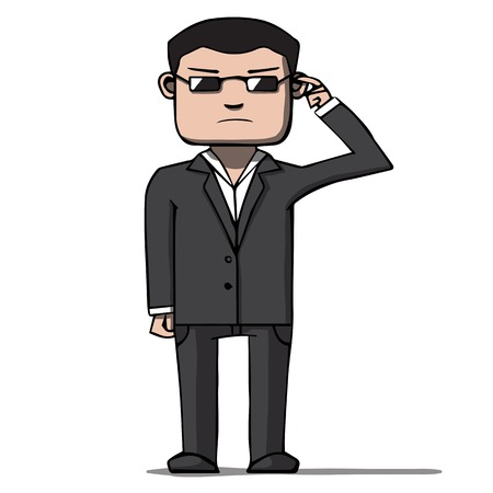 bodyguard: Funny cartoon bodyguard  Security  Vector illustration Illustration