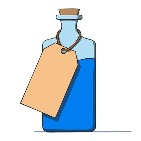 food poison: Cartoon bottle with a tag  Vector illustration