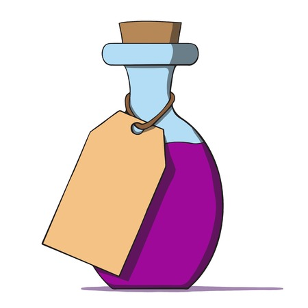 Cartoon bottle with a tag  Vector illustration Vector