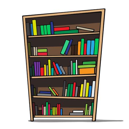 Cartoon illustration of a bookshelf