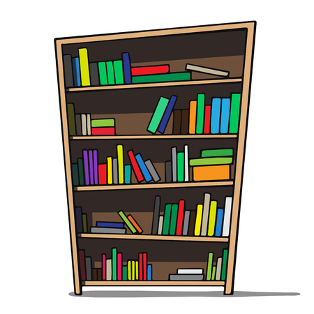 Cartoon illustration of a bookshelf  Vector