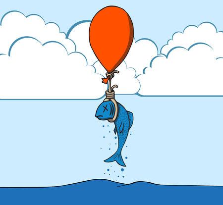 oxigen: fish with balloon illustration Illustration