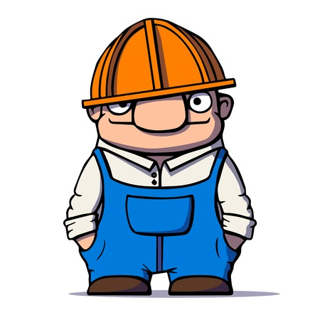 Funny cartoon worker, builder, plumber. Vector illustration Vector