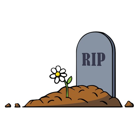 Tomba del fumetto con lapide e fiori. Illustrazione vettoriale