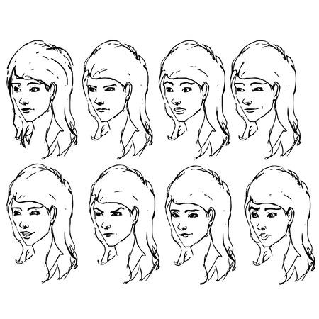 face expressions: Expresiones de la cara de la muchacha bosquejos de la tinta como la ilustraci�n