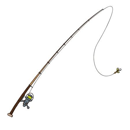 canna pesca: Canna da pesca con la mosca esche isolato su bianco Vettoriali