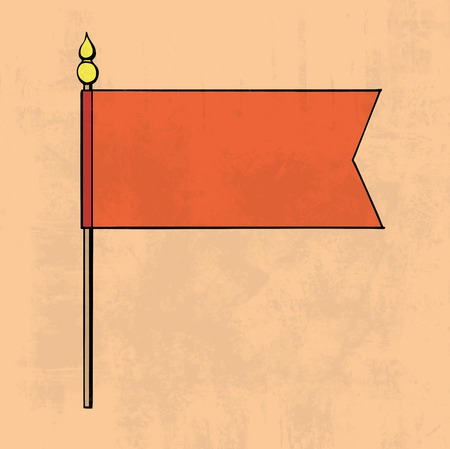 Illustration of red flag on texture background