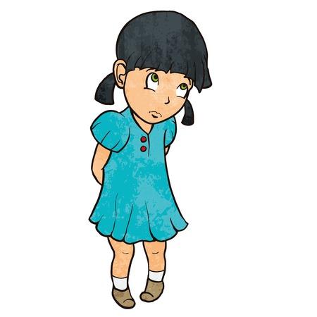 Leuke droevige schuldig klein meisje in blauwe jurk Vector Illustratie