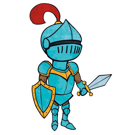 Cartoon knight in armour with sword and shield Illustration