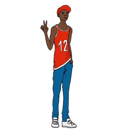 mainstream: Black guy  Street art style illustration Illustration