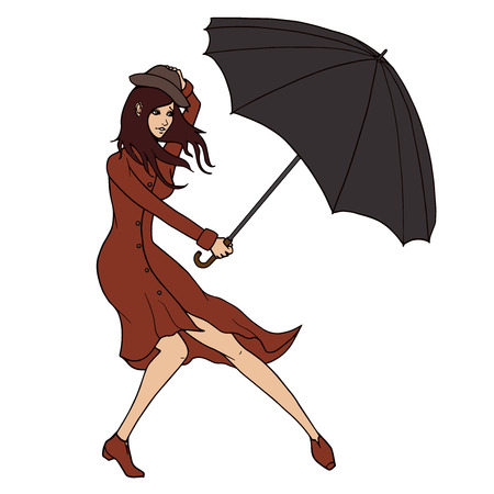 rain coat: Young  woman holding an umbrella against the wind  illustration