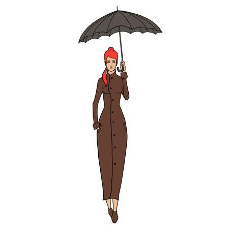 redhead woman: Donna di Redhead in cappotto con l'illustrazione ombrello