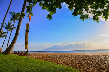 マウイ島のライフガードの浮揚装置を展示、豪華なラハイナ海岸。