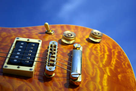 amplified: Pillow Maple Guitar Bridge And Controls Stock Photo