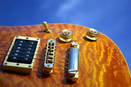 pickups: Pillow Maple Guitar Bridge And Controls Stock Photo