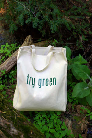 replaces: Shopping bag made out of recycled materials, replaces plasic shopping bags. Stock Photo