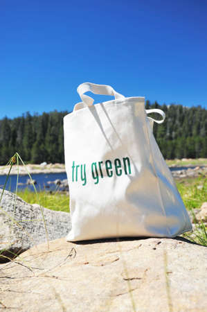 replaces: Shopping bag made out of recycled materials, Ecologically  freindly, replaces plasic shopping bags. Stock Photo