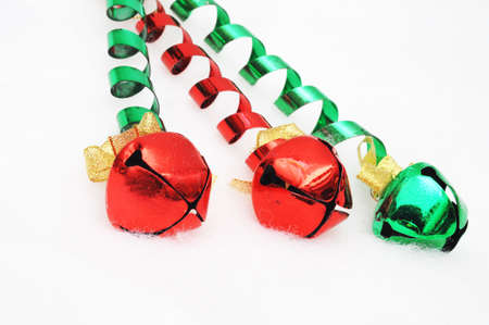 reg: Red and green bells on a light fuzzy background