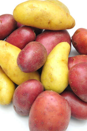 Red and white Fingerling Potatoes on a light backgroung