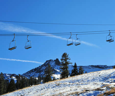 sierras: Ski lift in the California Sierras at late Autumn waiting for winter show Stock Photo