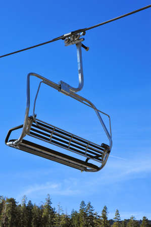 Closeup of a ski lift chair before the skiers arrive Imagens
