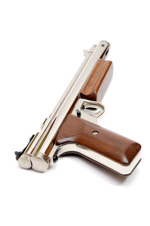 airgun: Silver air gun gun with wooden grips and pump lever on a white background