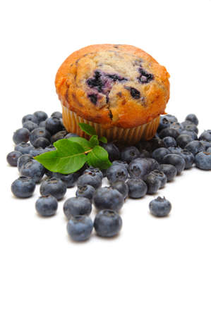 blueberry muffin: Fresh blueberries surround a single blueberry muffin on a light background