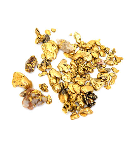 prospecting: Gold nuggets of various sizes and shapes isolated on a white background Stock Photo