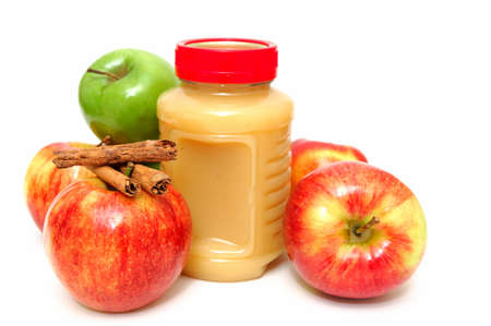 bought: Fresh Apples both green and red with a jar of store bought applesauce and cinnamon sticks