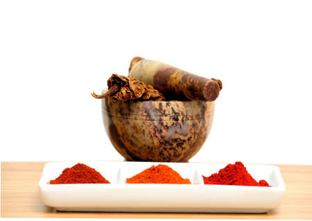 Mexican chipotle chilies smoke dried used to make salsa and meat marinades  with cayenne, New Mexico and Arbol chili powders