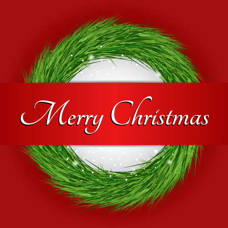 merry christmas text: Wreath with Merry Christmas text