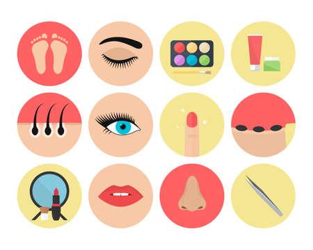 Set of beautician icons Illusztráció