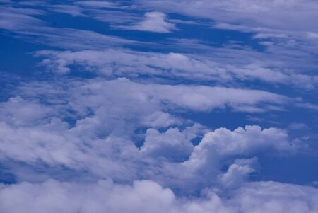 Blue sky background with clouds way to India From Bali.Sunny Day.. Archivio Fotografico