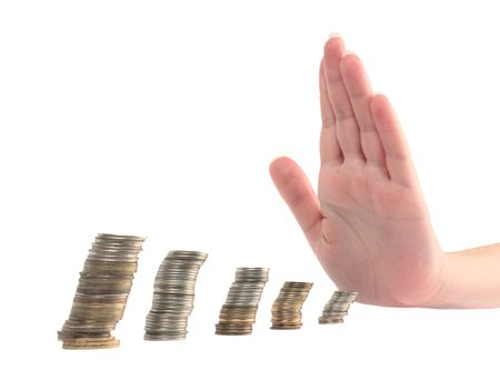 necessity: concept of finance, the hand stops the loss of income