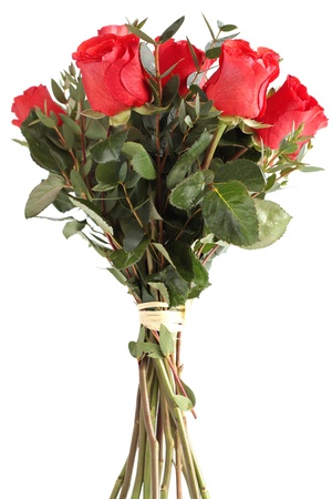bouquet of red roses on white background Stock Photo - 13138127