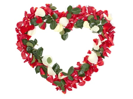 Heart shaped bouquet of red and white roses on white background photo
