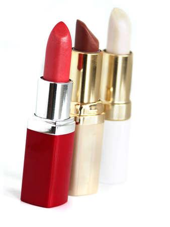 lovemaking: lipstick on white background