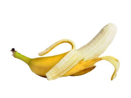 peeled banana: Half peeled banana