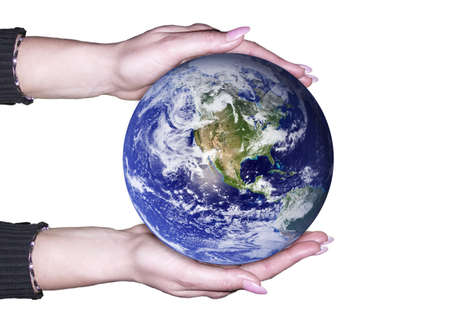 Hands holding a glowing Earth Stock Photo - 3332379