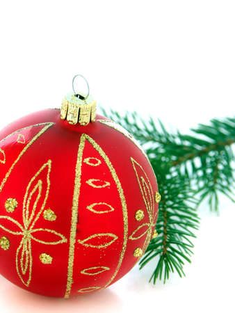 Christmas still life in red tone  - christmas ball and firry twig Stock Photo - 3602452